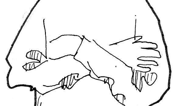 Mains aux genoux